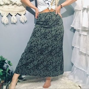 Vintage Green Floral Maxi Skirt